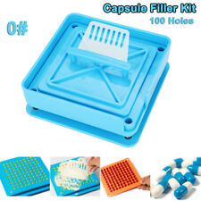 AU 100 Holes Manual Capsule Filling Machine Capsule Maker Filler Size 0# Pill