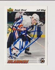 91/92 Upper Deck Randy Wood New York Islanders Autographed Hockey Card