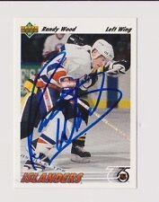 91/92 Upper Deck Randy Wood New York Islanders Autographed Hockey Card