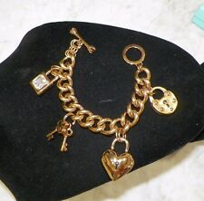 JUICY COUTURE HEAVY THICK CHARM BRACELET WITH LOCKS & KEYS TOGGLE CLOSURE & BOX