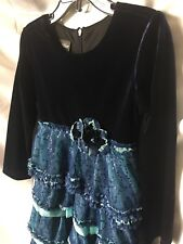 Isobella and Chloe Girls Navy Velour And Sequin Embellished Dress Sze 6-New