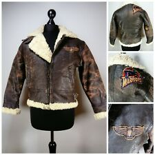 Vintage Distressed Sheepskin Irvin Flying Jacket Size S Small patches biker Zip