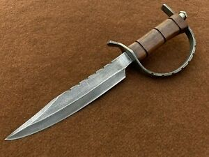 Custom Handmade 5160 Spring Steel Antiqued D Guard Bowie, Bowie Knife, 0031