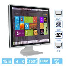 """15"""" LCD 1024*768 Monitor VGA BNC Video Audio HDMI For PC CCTV Banking Camera G0"""