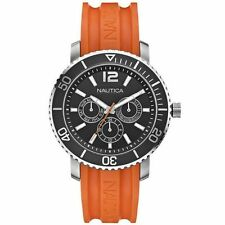 Nautica A16642G Watch Round Black Dial Stainless Steel Case Orange Rubber Strap