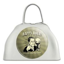 Happy Hour Gentlemen Start Your Livers Funny White Cowbell Cow Bell Instrument