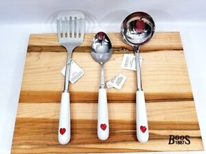 3 pc Set Williams Sonoma Valentine Heart Kitchen Tools Spatula Spoon Ladle NEW