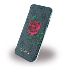 Genuine GUESS PU 4G Flower Desire Book Case with Card Slots for iPhone X