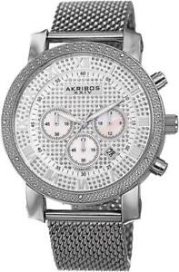 Akribos AK713SS Chronograph Date GMT Diamond Bezel Mesh Bracelet Mens Watch