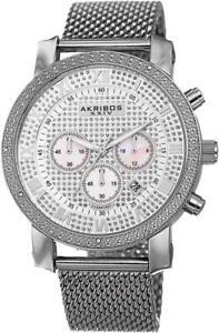 Akribos AK713SS Chronograph Date GMT Diamond Bezel Mesh Bracelet Mens Watch