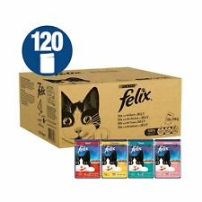 Felix Standard Cat Food - Mixed Meat and Fish, 120 x 100 g, 120 Pouches