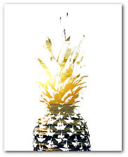 Pineapple Print, Tropical Sunset Art, 8 x 10 Inches, Unframed