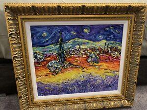 "Painting From Duaiv ""Multicolor Van Gogh 2014 Embellished"" Original."
