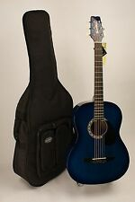 Guitar Acoustic Steel String Folk Adult Size BLUEBURST Finish Strap & Case