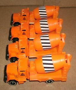 Four 1/64 Scale Cement Mixer Truck Diecast Toys Construction Vehicle Concrete