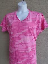 Women's Port & Co.  Cotton S/S V Neck Pink Colored Camo Tee Shirt 2X
