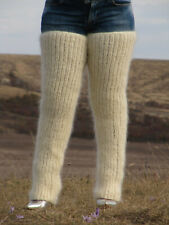 MOHAIR hand knitted CREAM gaiters LEGWARMERS legging spats Unisex Soft Ribbed 11