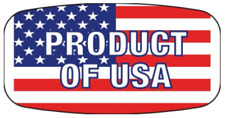 """1.25"""" x .625"""" Product Of Usa Labels 1000 Per Rl Red White Blue Sticker"""