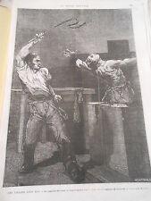 Gravure 1872 - Le Supplice du Fouet étrangleurs Londres