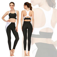 Womens Workout Yoga Set Fitness Gym Outfit Running Sport Bra Pants Leggings Suit
