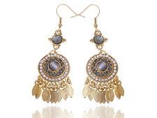 Vintage Gold Tone Dream Catcher Inspired Rhinestone Faux Pearl Tribal Earrings