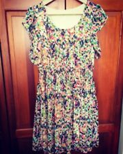 New! DOROTHY PERKINS Impressionist Flutter Sleeve Chiffon Dress - 12