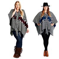 Velezra Womens Aztec Tribal Warm Heavy Chic Poncho Cardigan Wrap Jacket Sweater