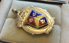 Lovely Antique Fully Hallmarked Solid Silver & Enamel Watch Fob Medal Pendant