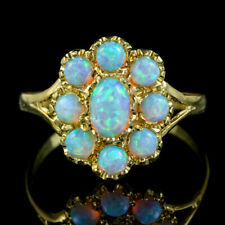OPAL CLUSTER RING SILVER 18CT GOLD GILT