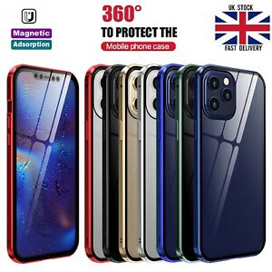 For iPhone 12 Pro MAX Min 360 Full Body Magnetic Case Front Back Tempered Glass