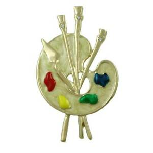 Gold with Cream Enamel Artist Paint Palette Brooch Pin - PRF908