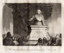 GRAVURE RELIGION / BOSSUET PRECHANT DEVANT LA COUR DE LOUIS XIV