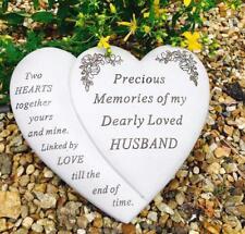 Husband Double Heart memorial Grave or Garden Plaque tribute DF16848G