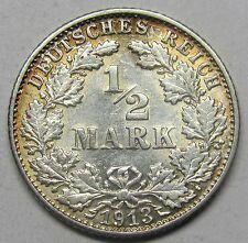 Très belle monnaie - ALLEMAGNE - 1/2 mark - 1913 F - QUALITE