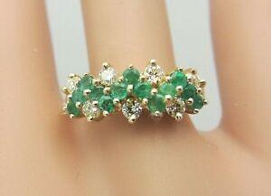New 14K Yellow Gold Emerald and Diamond Ring cluster