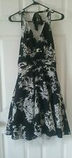Toile Black and White Halter Pinup Dress with Tulle Size 7