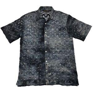 SilverSilk Gray Abstract Silk Blend Short Sleeve Mens Sheer Button Shirt • XL