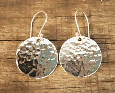 New Hammered Disc Round Earrings 925 sterling silver Dangle 18 mm Women Gift