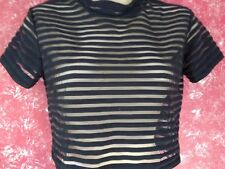 Motel Rocks Sheer Sassy Stripped Cropped Black Top - Size S