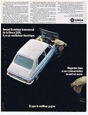 PUBLICITE ADVERTISING 104 1968 SIMCA Devant le moteur transversal de 1100
