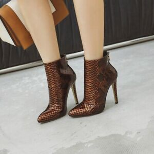 Women's Pointy Toe Stiletto High Heel Ankle Boots Back Zip Shoes Nightclub Sexy