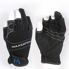 Outdoor Gloves One Pair Black 3 Cut Fingerless Fishing Gloves Non Slip