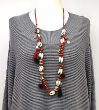 LAGENLOOK*LOLILOTA*AMAZING ART BOOHOO LONG NECKLACE/PENDANT CORD+SHELL**RED**