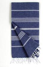 LARGE  Turkish Hammam Towels Denim Blue  100% Cotton. YOGA/SPA/BEACH/BOHO/GYM