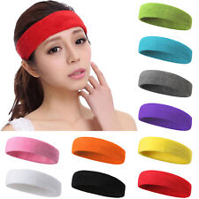 Ladies Mens Stretchy Sports Gym Cotton Sweatbands Sweat Bands Headband Hairband