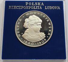 ORIGINAL 1975 Poland Polen 100 zl zlotych Silver Helena Modrzejewska