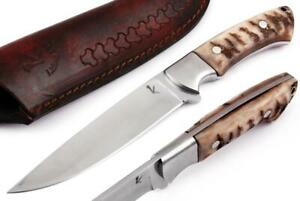 947 CUSTOM MADE D 2 STEEL HUNTING KNIFE | STEEL BOLSTER | STAGANTLER