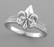Sterling Silver CZ Fleur-de-lis Ring Size 7