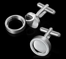 Cufflinks DIY Do-It-Yourself Photo Picture Frame Cuffs Mens Womens Unisex NEW