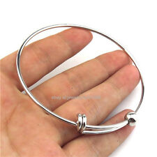 21640 Silver 65cm Blank Copper Rotatable Bangle Bracelet Fit add Cage Locket